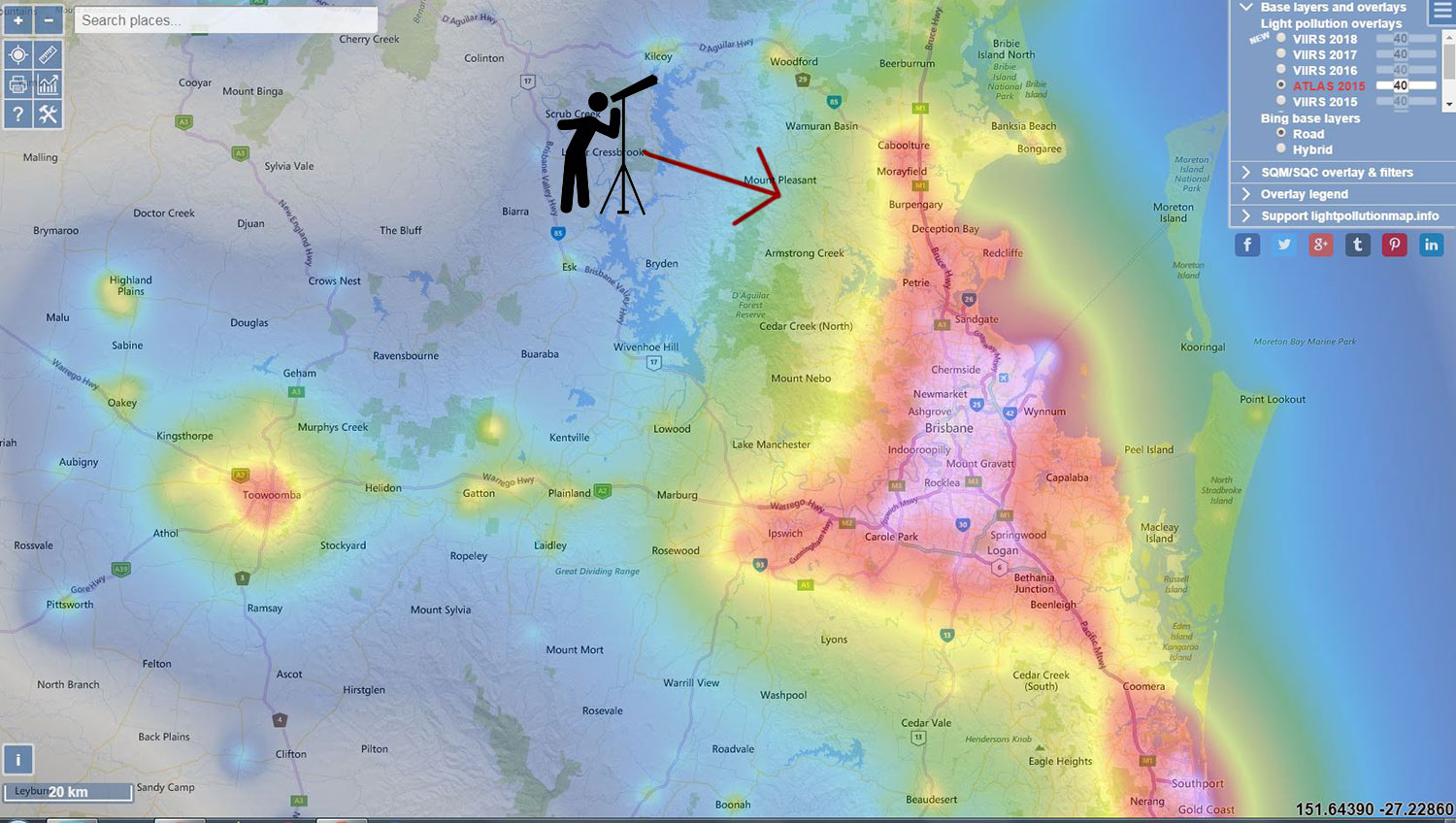 Astrophotography Dayboro light pollution map South East Queensland
