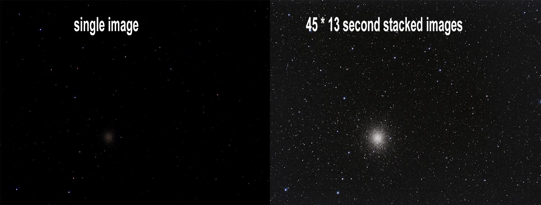 Omega centauri astrophotography - single image vs stacked