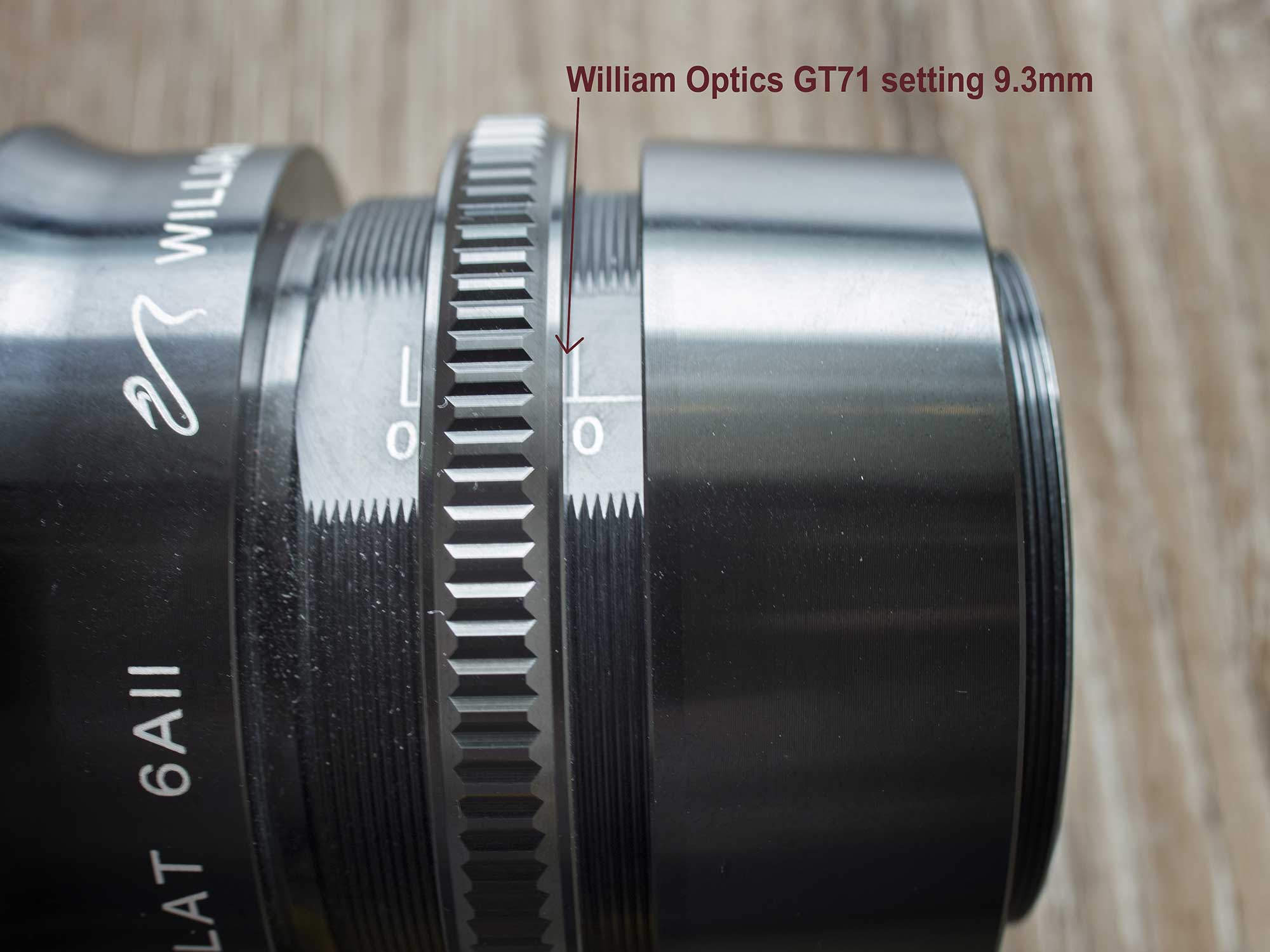 Close up - William Optics GT71 with 6A2 field flattener