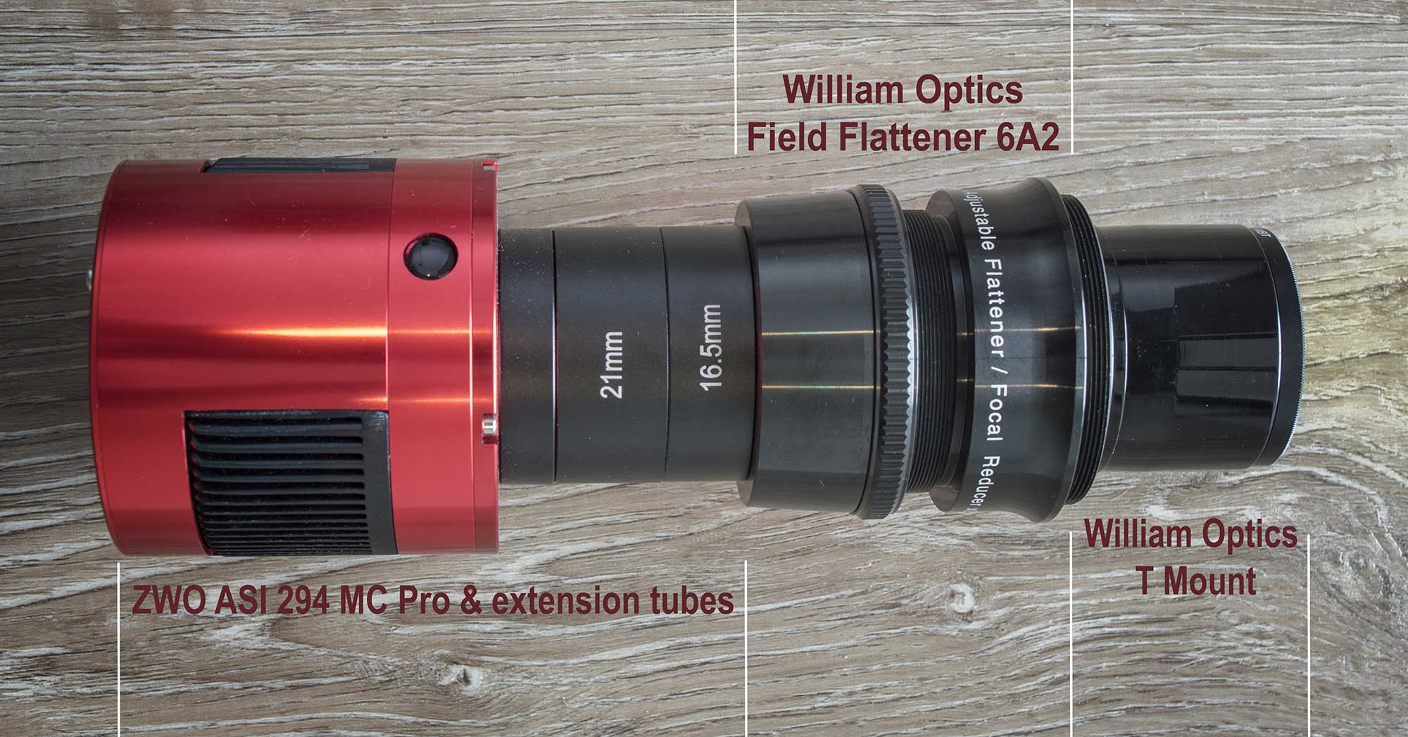 Optical train - William Optics GT71 with 6A2 field flattener