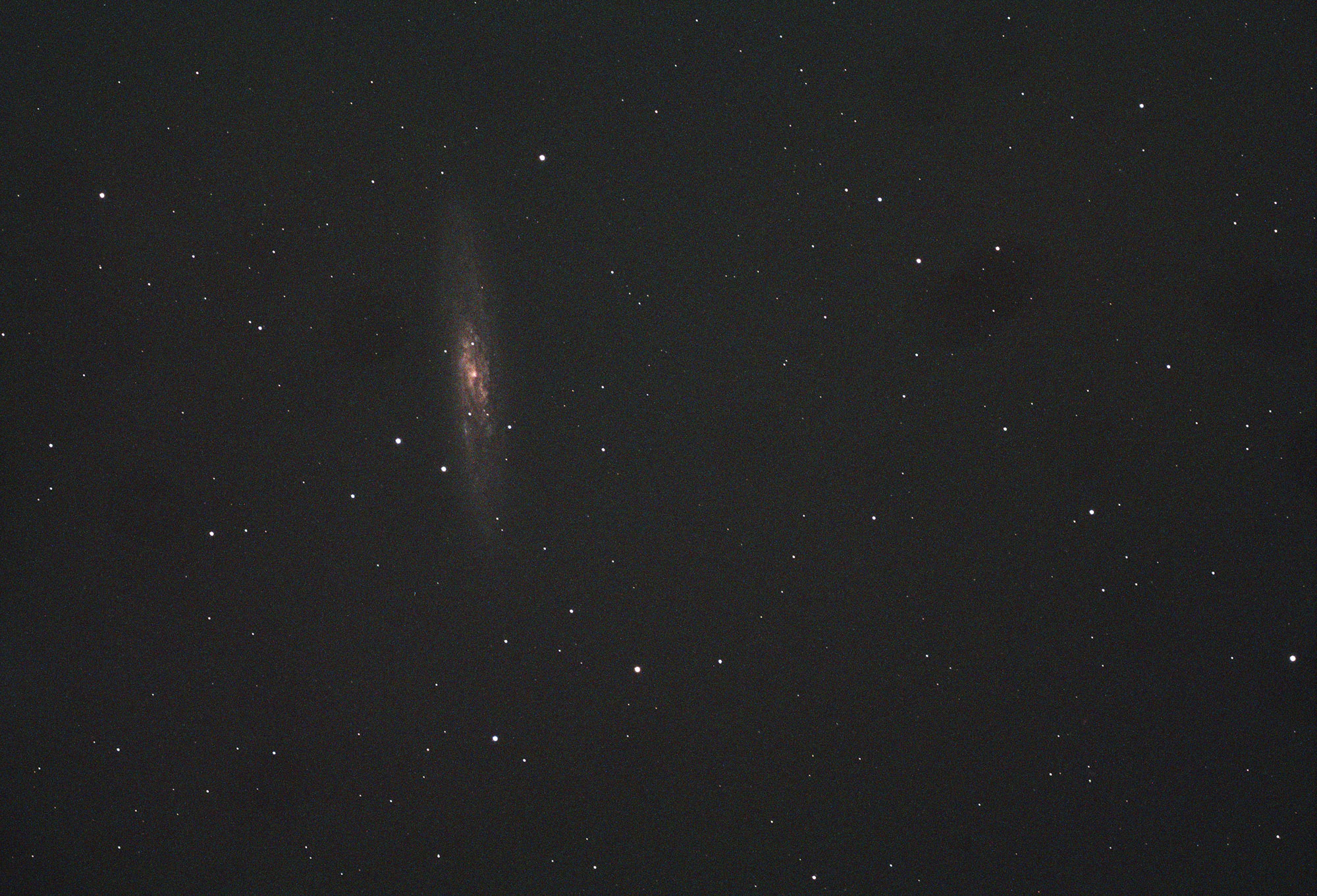 A single 60 second exposure of NGC 253 taken with a William Optics GT 102 and ASI 293 colour camera