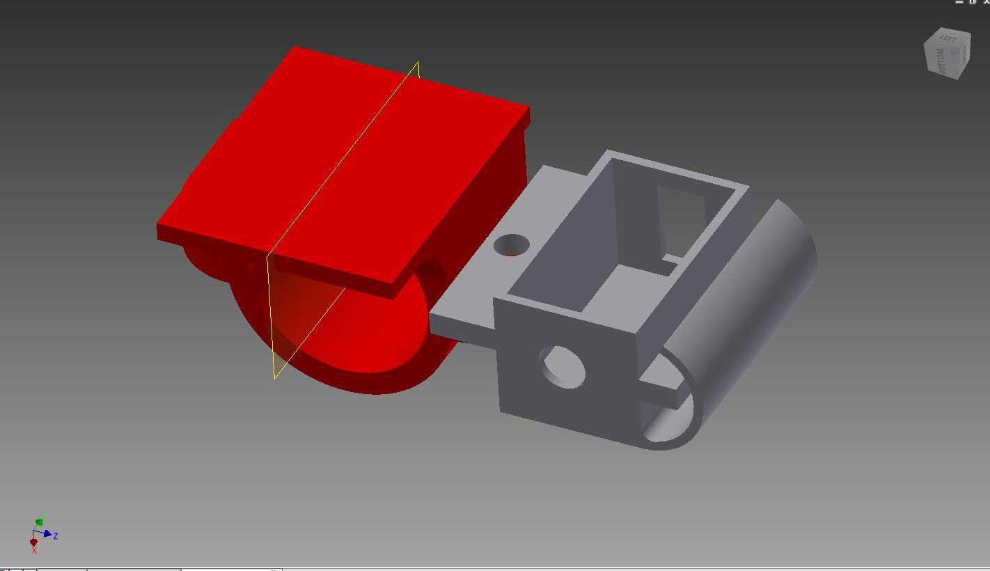 ASIair 12v-5v DC converter 3D printed adapter bracket assemble next to the ASIair mounting bracket