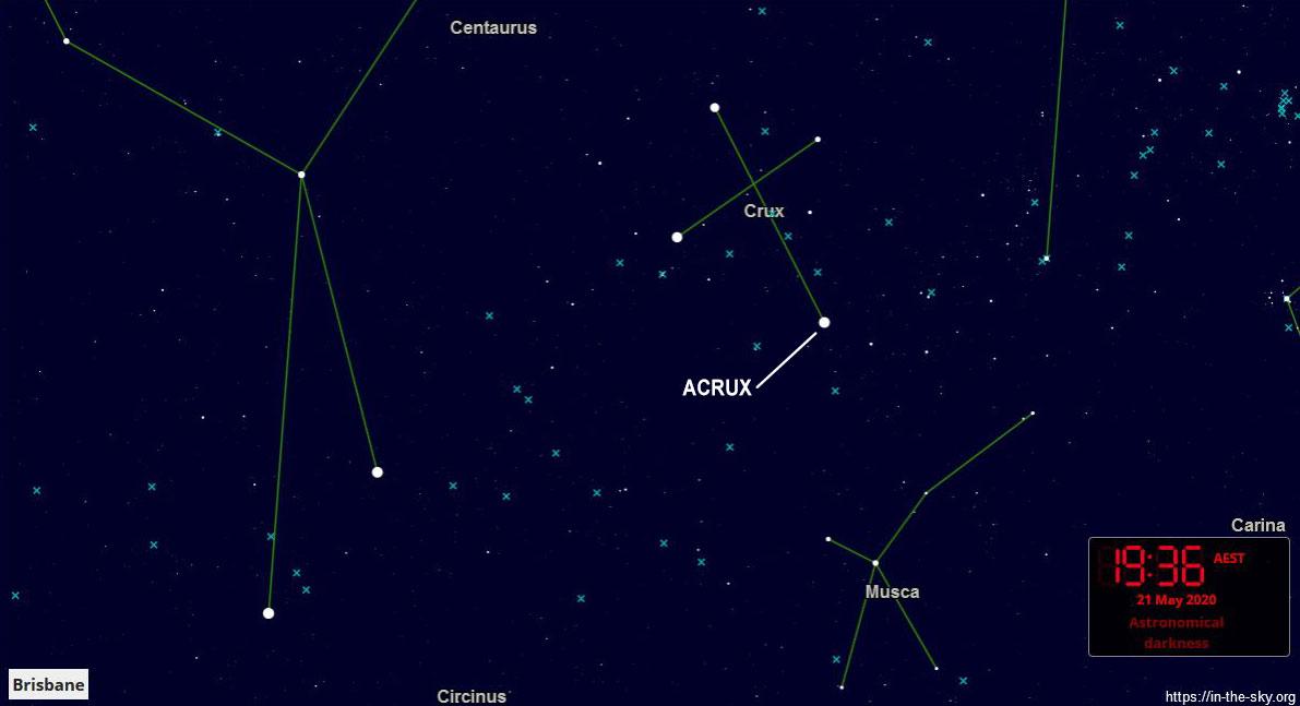 Acrux star chart