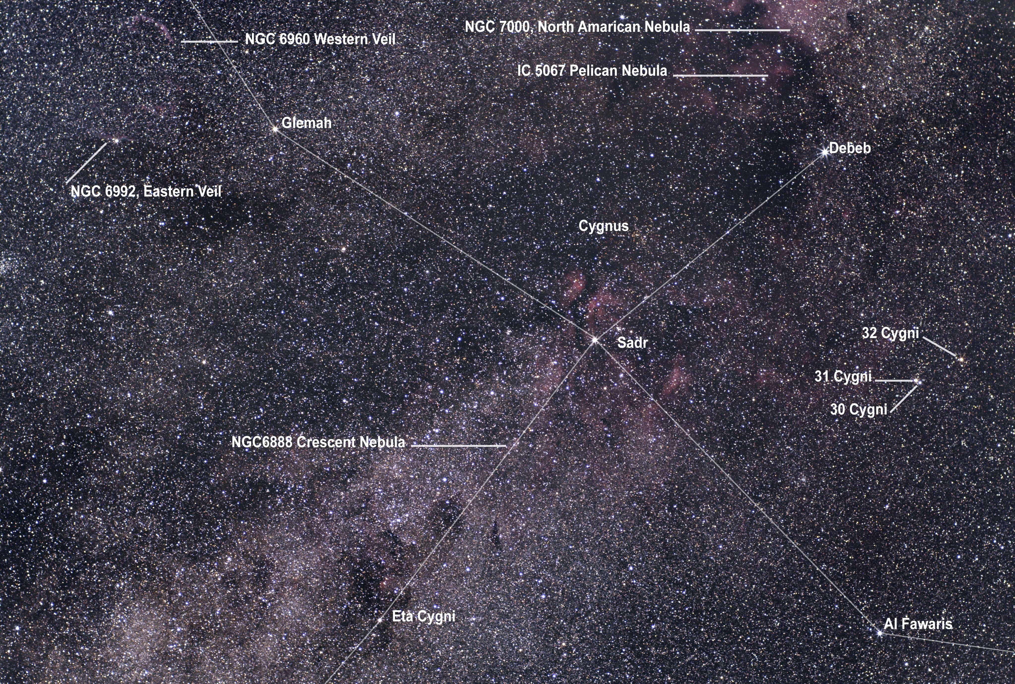 Cygnus wide field, Olympus 50mm lens & ASI294MC Pro