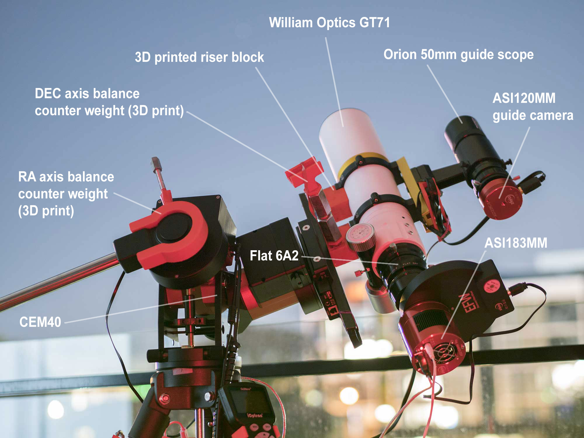The William Optics GT71 with ASI183MM Pro - balcony astrophotography