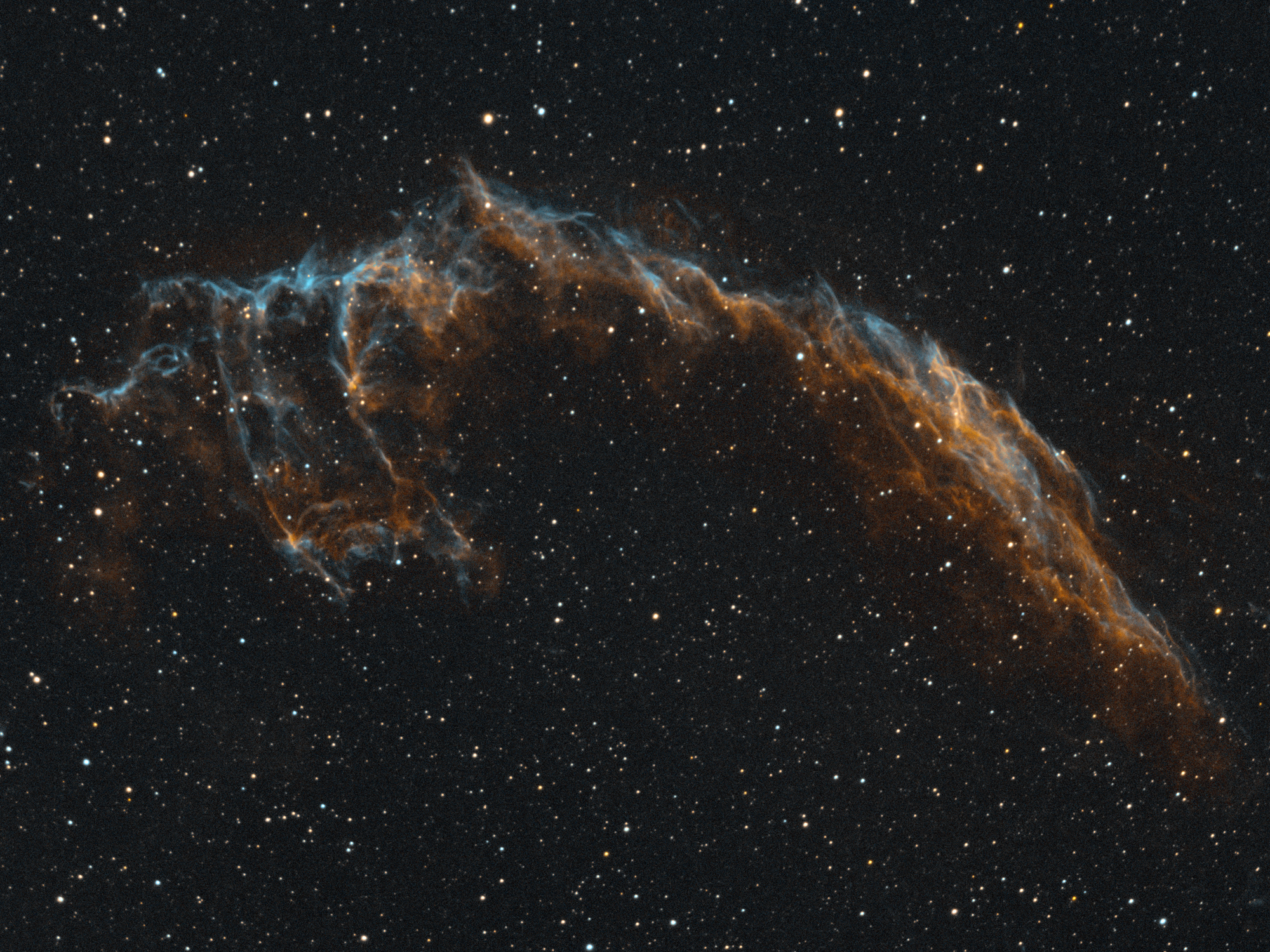The Veil Nebula in Cygnus captured with a William Optics GT71 telescope and ASI183MM camera with Antlia 3.5nm HA and 03 filters