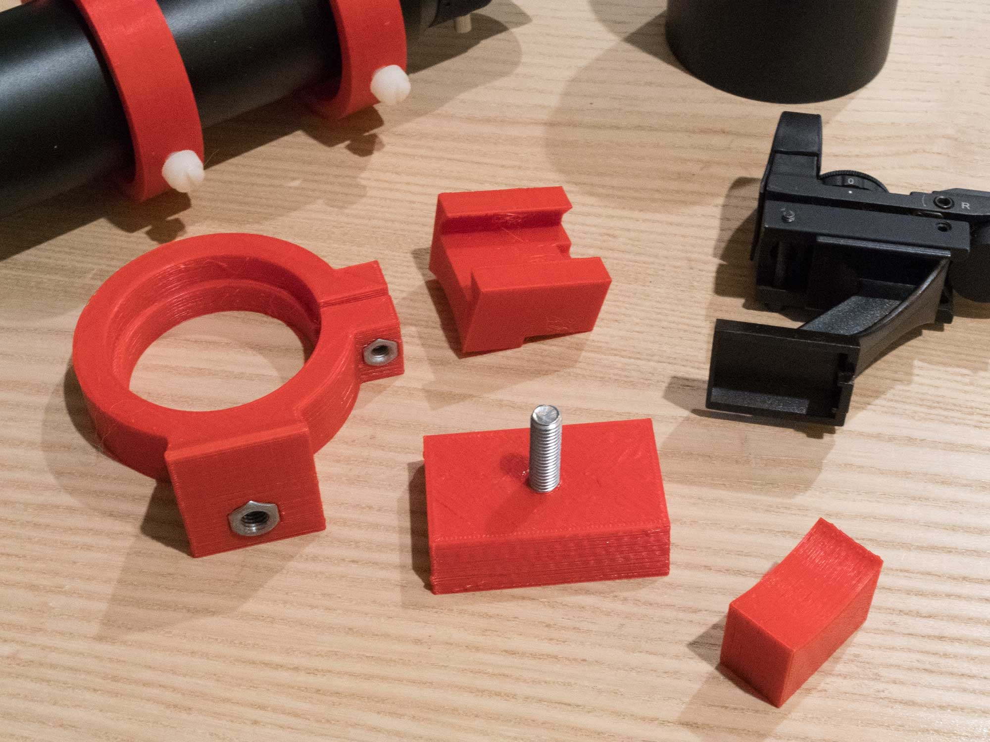 The individual parts of the ASI294MC adapter before assembly and gluing