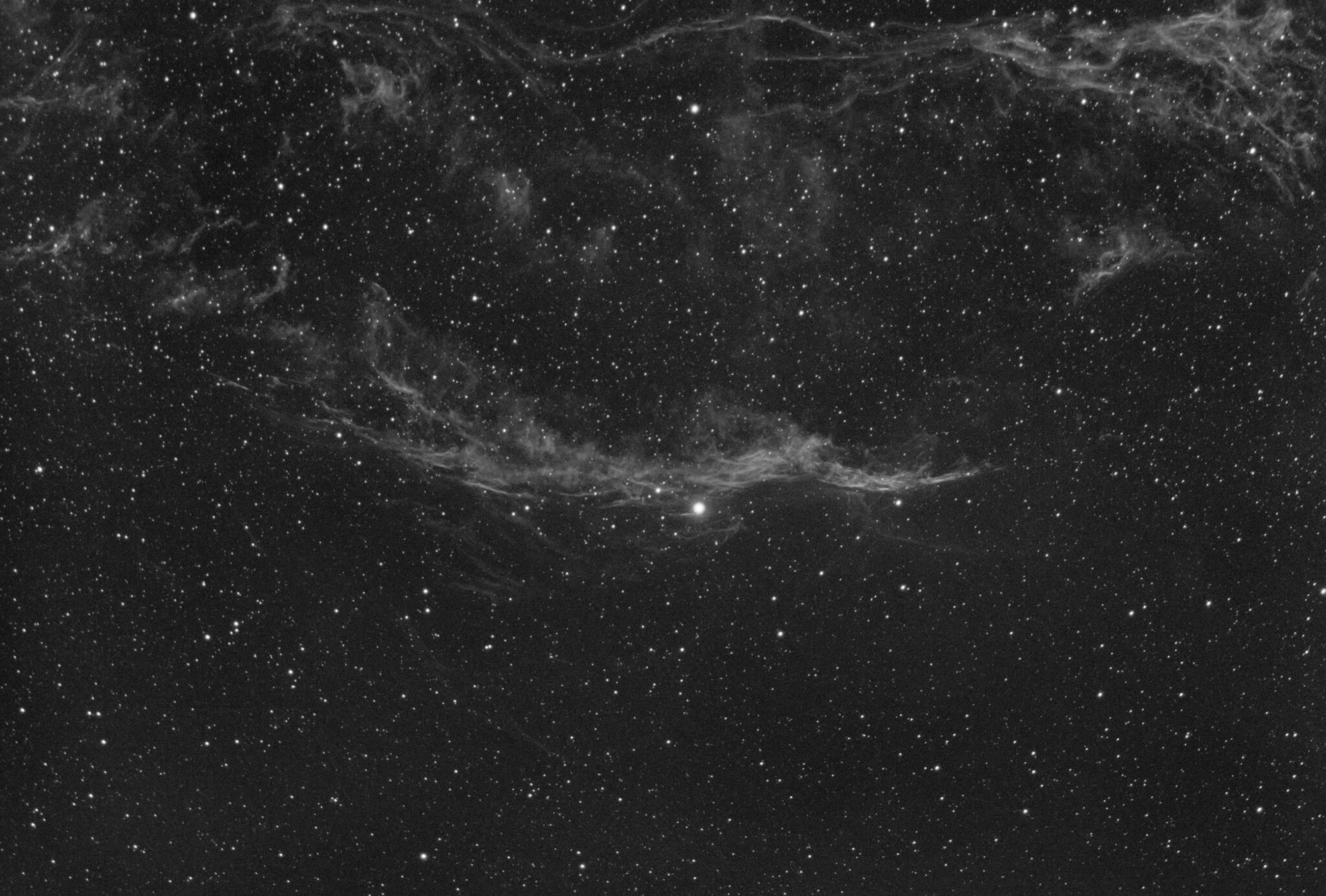 The Western Veil Nebula in HA captured with a William Optics GT71 telescope and ASI183MM camera