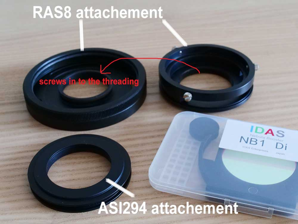 Individual parts of the IDAS RAS8 filter holder