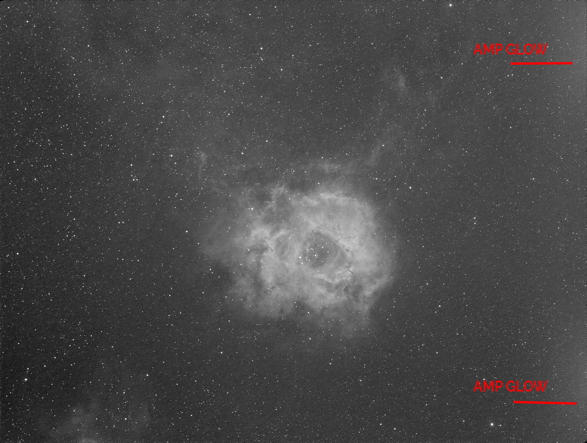 The Rosette Nebula in HA using the Borg55FL - 12*300 second subs integrated with lights only and showing artifacts