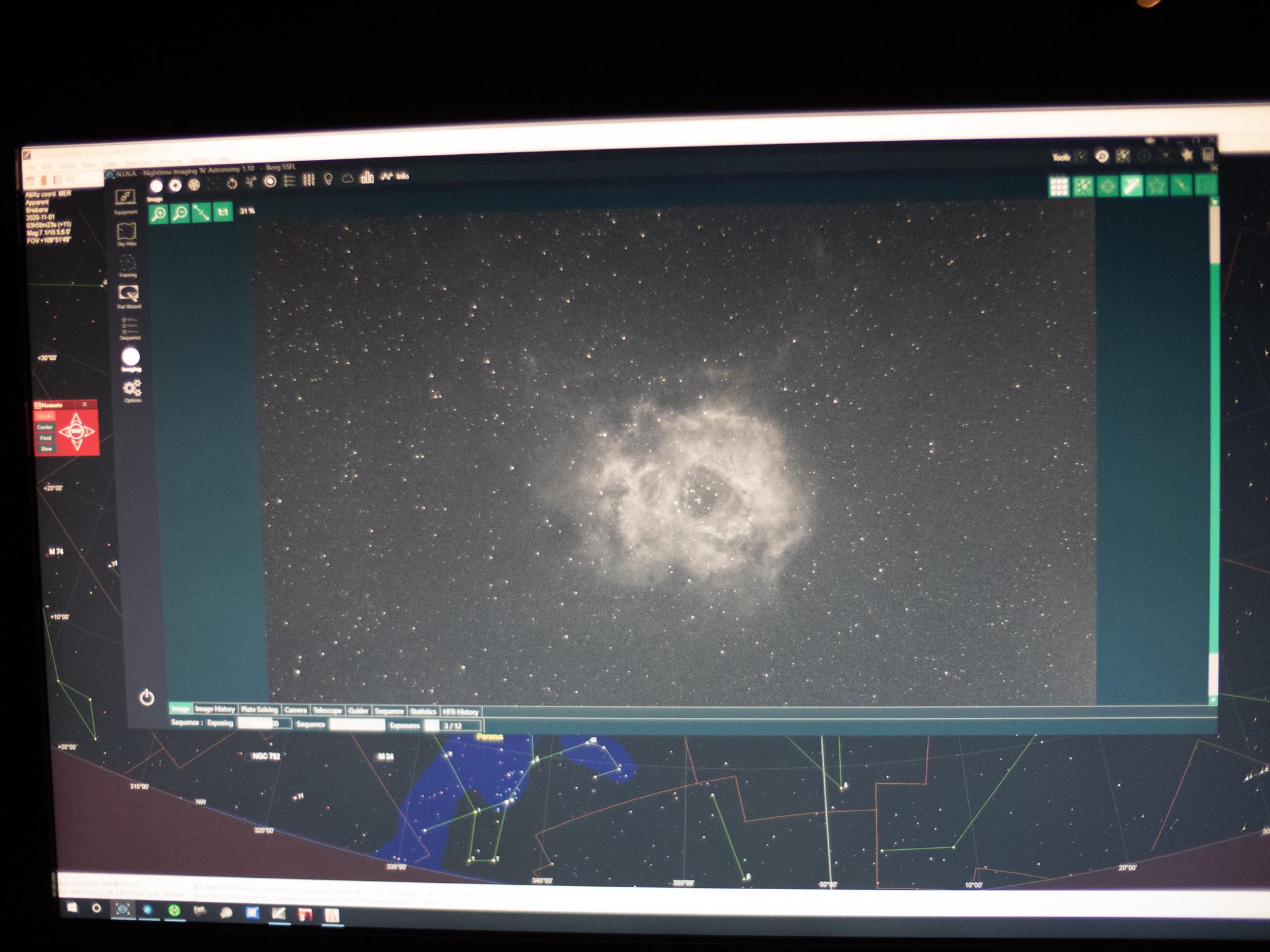 The Rosette Nebula being captured using NINA